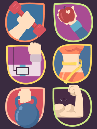 Illustration of Workout Icons with Hands Holding Dumbbell, Apple, Player, Kettle Bell and with Flexing Muscles and with Measuring Waist Stock Illustration - 81624478