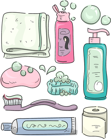 Illustration of a Towel, Shampoo, Soap, Tooth Brush, Tooth Paste, Tissue and Lotion Imagens