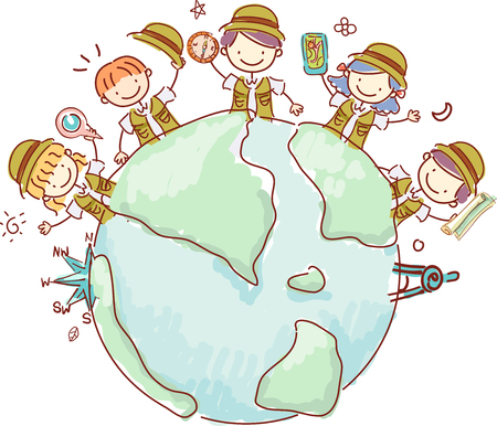 geolocation: Illustration of Stickman Kids in Explorer Costume holding Geography Tools Around a Globe Stock Photo