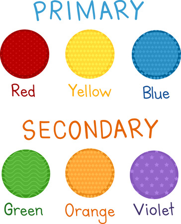 secondary colors: Illustration of Red, Yellow, Blue, Green, Orange and Violet as Primary and Secondary Colors Stock Photo