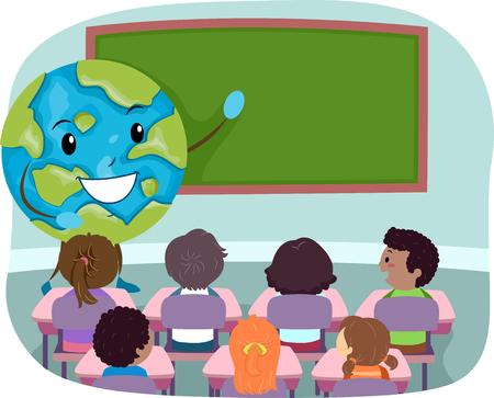 Illustration of a Globe Mascot in front of a Blackboard Teaching Kids in Class