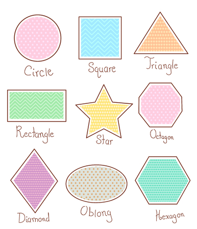 octagon: Illustration of Basic Geometric Shapes like Circle, Square, Triangle, Rectangle, Star, Octagon, Diamond, Oblong and Hexagon Stock Photo