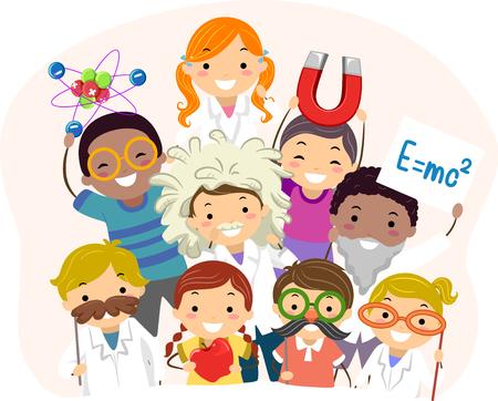 Illustration of Stickman Kids Wearing Different Physics Costume Posing 写真素材