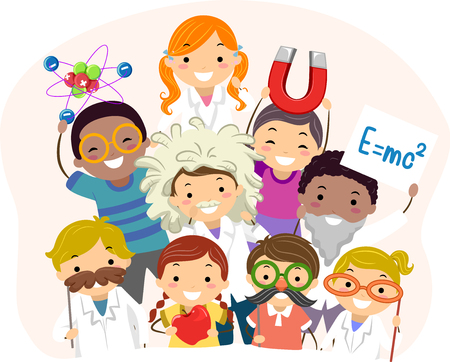 Illustration of Stickman Kids Wearing Different Physics Costume Posing Standard-Bild
