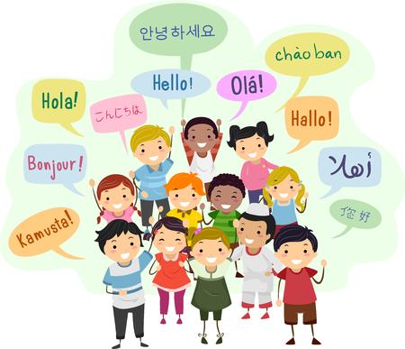 棒人間の子供と異なる言語で挨拶のスピーチの泡のイラスト