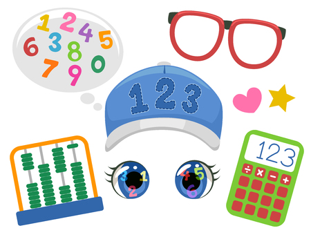 Illustration of Funny Face Math Student Elements consisting of Numbers, Eyeglasses, Abacus, Calculator, Hat and Eyes Stock Photo