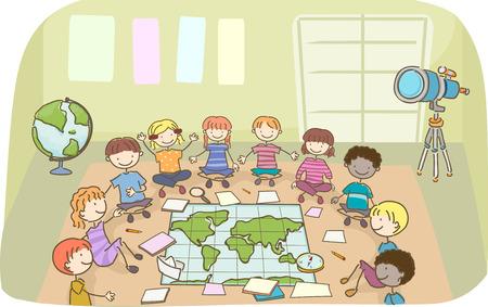世界地図、いくつかの論文とコンパスと教室で棒人間の子供たちのイラスト