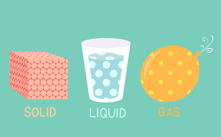Illustration of Solid Liquid Gas Molecules in a Cube, Glass and Balloon for Physics Class Stock Photo