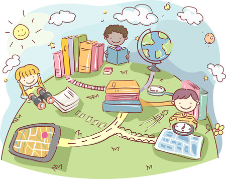 Illustration of stickman kids looking at a big world map on an illustration of stickman kids holding a binoculars a compass and map and a book illustration gumiabroncs Image collections