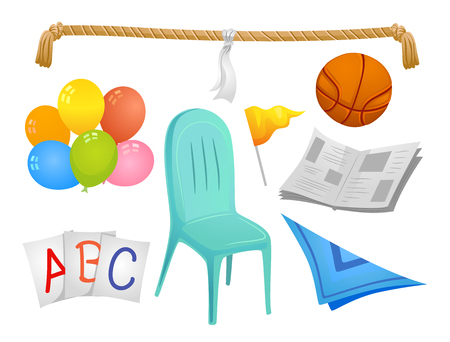 Illustration of Different Elements for Kiddie Party Games like Rope, Ball, Newspaper, Balloons, Cards, Scarf and Chair Stock Photo