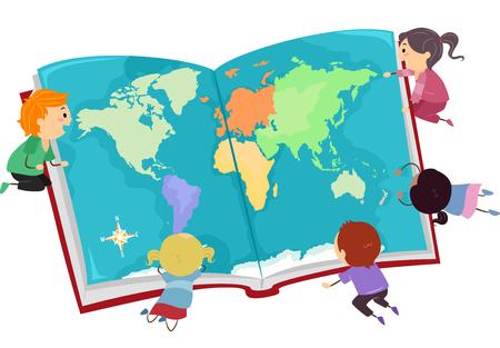Illustration d'enfants Stickman regardant une grande carte du monde sur un livre ouvert