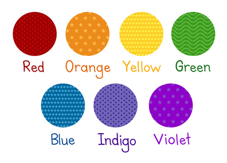 Illustration of of the Red, Orange, Yellow, Green, Blue, Indigo and Violet Colors in Different Patterns Stock Photo