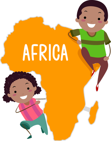 Illustration of Stickman African Kids Presenting the Continent of Africa