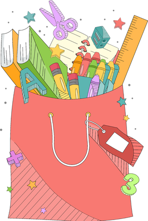 Illustration of a Shopping Bag full of School Supplies like Notebooks, Crayons and Pencils