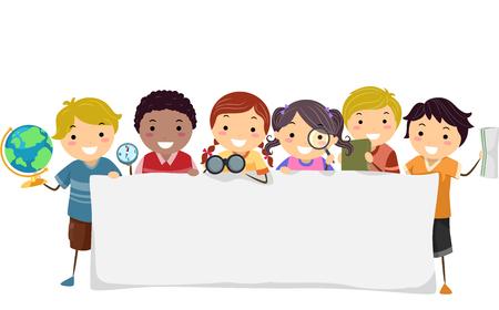 Illustration de Stickman Kids tenant un globe terrestre, une boussole, des jumelles et une carte tenant une bannière