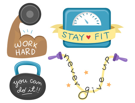 Illustration of Inspirational Texts for Exercising on Biceps, Scale, Kettlebell and Jump Rope Stock Photo