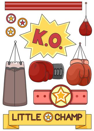 Illustration of Boxing Gloves, Punching Bag, Belt, Sand Bag and Little Champion Ribbon