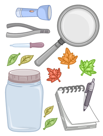 Illustration of a Flash Light, Tongs, Dropper, Leaves, Magnifying Glass, Jar, Notepad and Pen for a Science Experiment