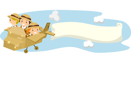 stick out: Illustration of Stickman Kids Flying a Carton Airplane with Blank Banner