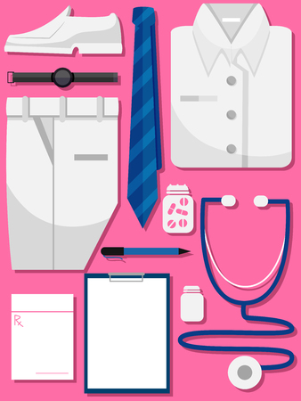 white coat: Illustration of Medical Professionals Uniform with Stethoscope, Chart, Medicine and Prescription Paper Stock Photo