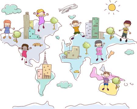 세계의 다른 부분에 도시와 Stickman 아이들의 그림