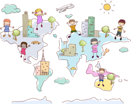 Illustration of Cities and Stickman Kids in Different Parts of the World