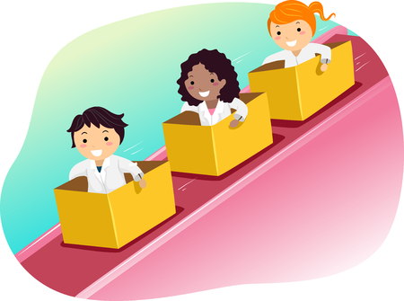 Illustration of Stickman Kids in Lab Gowns Riding Boxes Down an Inclined Plane