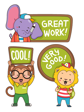 Illustration of an Elephant, Monkey and Lion Students holding Compliments Stock Photo