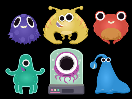 Illustration of a Group of Cute and Weird Alien Elements Isolated against Black Stock Photo