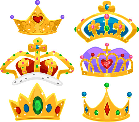 Illustration of Different Royal Crown in Gold with Plenty of Shiny Gemstones