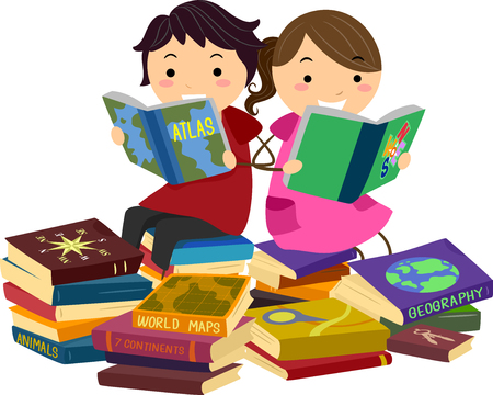 bookworm: Stickman Illustration of a Little Boy and Girl Reading Geography Books Together