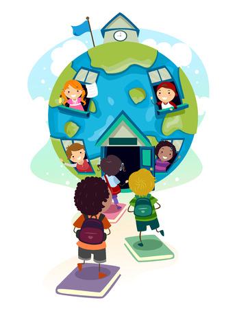Illustratie van Stickman Kids-studenten die naar een internationale school gaan