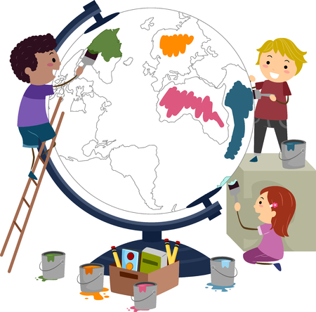 small world: Illustration of Stickman Kids Painting a Big Globe in Different Colors