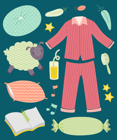 pjs: Illustration of Pajamas, Pillows, Sheep, Orange Juice, Feather, Hair Brush and Diary