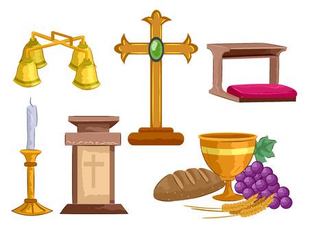 Ilustracja różnych przedmiotów używanych podczas ceremonii mszy świętej, w tym kielicha, krzyża, mównicy, dzwonka ołtarza, świecznika i ławki