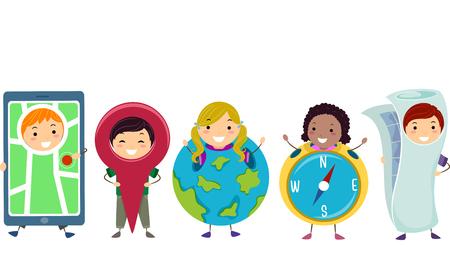 Illustration of Stickman Kids wearing GPS, Geolocation Pin, Globe, Compass, and Map Costume Stock Photo