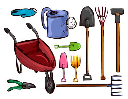 arando: Ilustración de una carretilla, regadera, pala, tenedor, paleta, azada, rastrillo y tijeras Foto de archivo