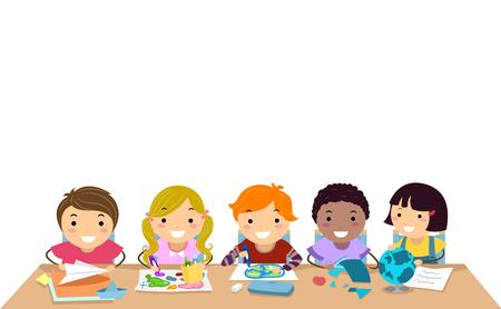 Ilustración de los niños de Stickman en la clase en una tabla que trabaja en la actividad de la geografía