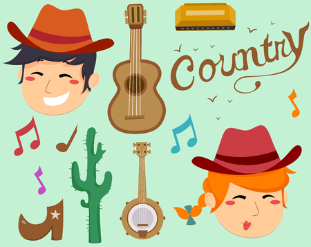 Illustration of Country Music Elements with a Guitar, Banjo, Harmonica, Cowboys, Cactus, Boots and Musical Notes