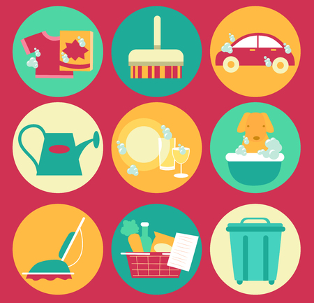 bathe: Illustration of Common House Chores like Laundry, Sweeping, Car Wash, Watering Plants, Cleaning Dishes, Vacuum, Groceries and Emptying Trash