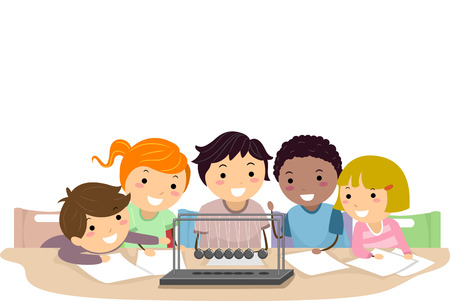 Illustration of Stickman Kids Looking at a Newtons Cradle in Physics Class Stock Photo