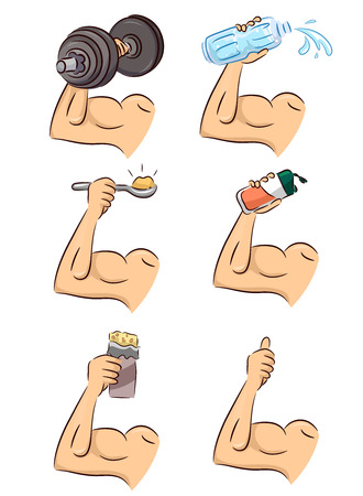 Illustration of Man Biceps Holding Dumb Bell, Water Bottle, Protein Powder, Protein Shake, Protein Bar and Thumbs Up