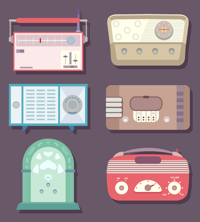 Illustration of Six Retro, Vintage Radio in Different Styles and Colors