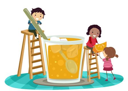 An Illustration of Stickman Kids Preparing a Big Glass of Orange Juice