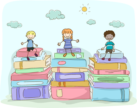 Illustration of Stickman Students Sitting on Stacks of Big Books Outdoors