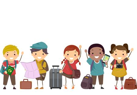 Illustratie van Stickman-kinderen met kaart, tas, camera en bagage Klaar om te reizen