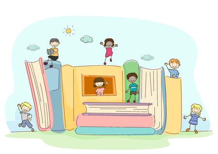 Fantasy Illustration of Stickman Kids with Big Books Having Fun Outdoors Zdjęcie Seryjne
