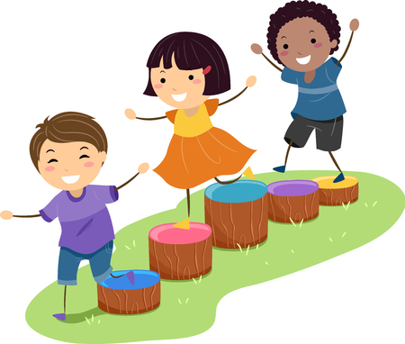 Illustration of Stickman Kids Playing and Running through an Obstacle Course Made from Wooden Blocks