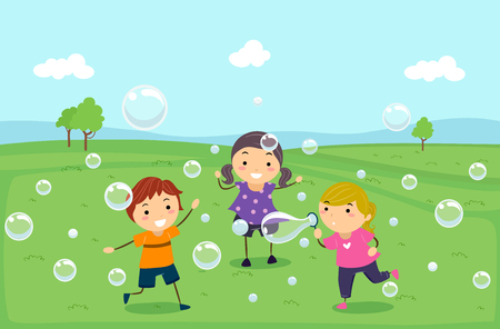 float fun: Illustration of Stickman Kids Playing, Running and Blowing Bubbles Outdoors Stock Photo