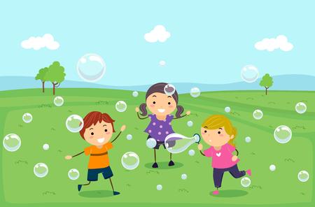 playmates: Ilustración de Stickman niños jugando, corriendo y soplando burbujas al aire libre